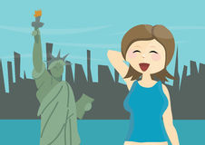 Happy woman tourist in New York, USA Royalty Free Stock Photo