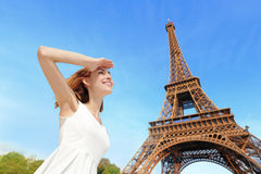Happy woman tourist in Paris Stock Photography