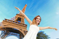 Happy woman tourist in Paris Royalty Free Stock Photography
