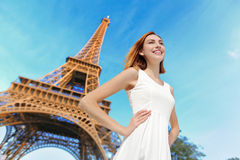 Happy woman tourist in Paris Stock Photos