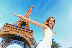 Happy woman tourist in Paris Royalty Free Stock Photo