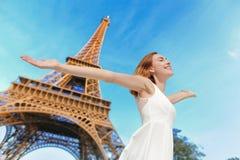 Happy woman tourist in Paris Stock Photos