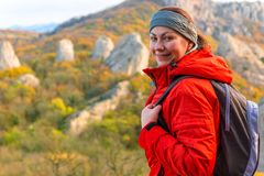 Happy woman tourist portrait stock photo