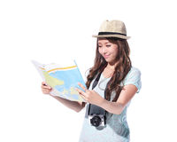 Happy woman tourist Royalty Free Stock Image
