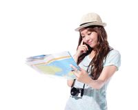 Happy woman tourist Royalty Free Stock Photography