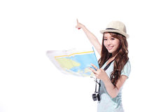 Happy woman tourist Royalty Free Stock Photo