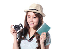 Happy woman tourist Royalty Free Stock Images