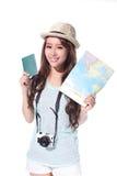 Happy woman tourist Royalty Free Stock Image
