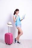 Happy woman tourist Stock Image