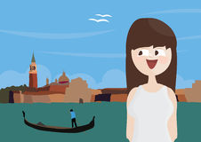 Happy woman tourist in Venice, Italy Royalty Free Stock Photos