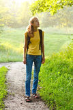 Happy Woman Tourist Walking in Summer Nature Royalty Free Stock Photos