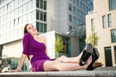 Happy woman in town Royalty Free Stock Photography