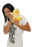 Happy woman with toy Stock Photography