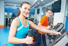 Happy woman with at training gym stock photos