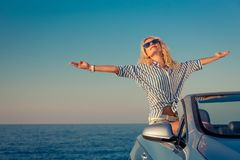 Happy woman travel by car royalty free stock images