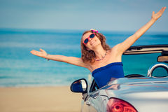 Happy woman travel by car Royalty Free Stock Image