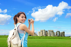 Happy woman travel in England Stock Photo