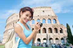 Happy woman travel in Italy Stock Image