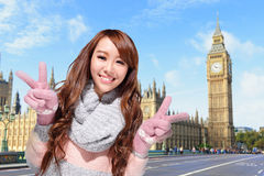 Happy woman travel in london Stock Photos