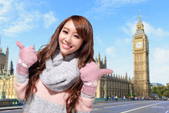 Happy woman travel in london Royalty Free Stock Photography