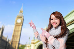 Happy woman travel in london Stock Image