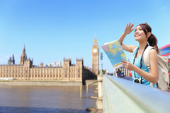 Happy woman travel in London Royalty Free Stock Images