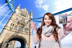 Happy woman travel in london Stock Photos