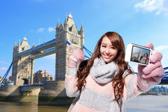 Happy woman travel in london Royalty Free Stock Image