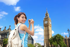 Happy woman travel in London Royalty Free Stock Photos