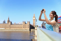 Happy woman travel in London Stock Photo