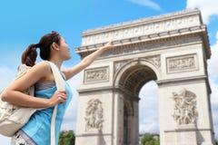 Happy woman travel in Paris Royalty Free Stock Photos