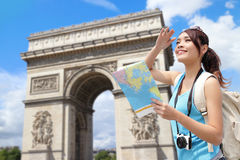 Happy woman travel in Paris Stock Images