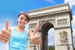 Happy woman travel in Paris Royalty Free Stock Photography
