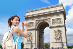 Happy woman travel in Paris Royalty Free Stock Image