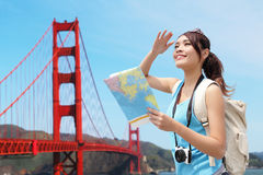 Happy woman travel in San Francisco Royalty Free Stock Images