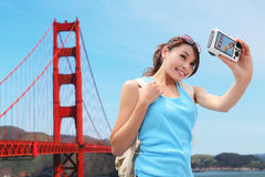 Happy woman travel in San Francisco Royalty Free Stock Image