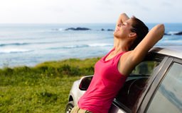 Happy woman travel on summer royalty free stock photography