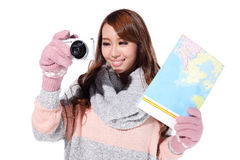 Happy woman travel in winter Stock Image