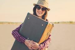 Happy woman traveler Stock Photos