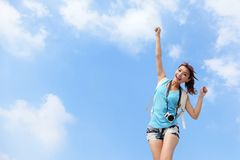Happy woman traveler relax feel free Stock Images