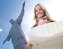 Woman traveling to Rio Stock Images