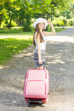 Happy woman traveling Stock Photos