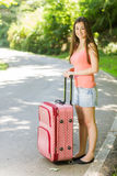 Happy woman traveling Royalty Free Stock Image