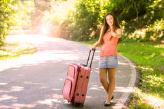 Happy woman traveling Royalty Free Stock Images