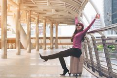 Free Happy Woman Traveller At Airport Walkway Stock Images - 107732984