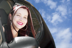 Happy woman travels with car Royalty Free Stock Photography