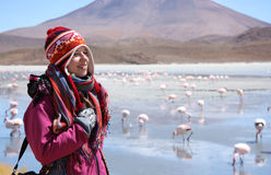Happy woman travels in wild nature of Andes, Bolivia Stock Photography