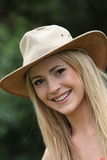 Happy woman in a trendy hat Royalty Free Stock Photo