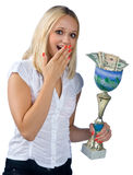 Happy woman with trophy full of money Stock Photography