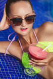 Happy woman on the tropical beach. Stock Images